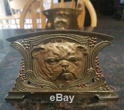 Rare Antique Brass Judd Bulldog Sliding Book Rack Bookend Art Nouveau
