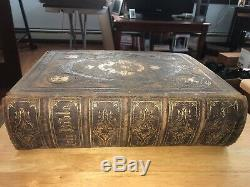 Rare Antique Brown's Self Interpreting Leather Family Bible (c 1800s)