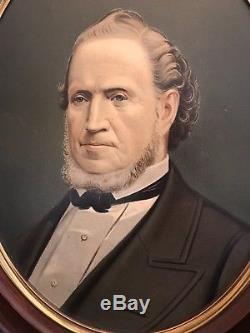 Rare Antique Framed Portrait Of Brigham Young Mormon circa 1877