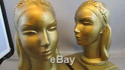 Rare Antique Frankart Art Deco Lady Woman Head Statue Sculpture Book Bookends