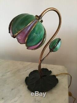 Rare Antique Handel Lamp, water lily tulip, 1902 in Handel books, signed