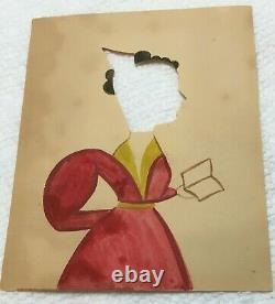 Rare Antique Hollowcut and Watercolor Silhouette Woman with Hair Comb & Book