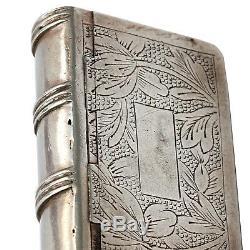 Rare Antique Imperial Russian Silver Snuff Box Vesta Case Book Motif Pan Slavic