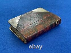 Rare Antique James Dixon Leather & Silver Plate Book Hip Flask Leather Flask
