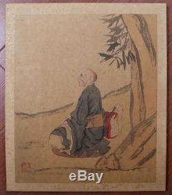Rare Antique Large China Hand Painting LuoHanTu Book Marks DingYunPeng KK497