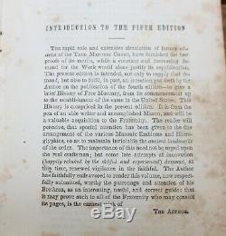 Rare Antique Leather Bound Masons Masonic History Book Masonic Chart c. 1846