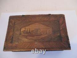 Rare Antique Napoleonic Prisoner of War Book Shaped Straw Work Jewellery Box