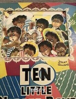 Rare Antique Raphael Tuck Paper Die Cut Panorama Ten Little Niggers Book
