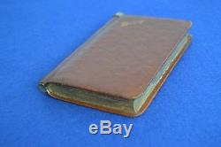 Rare Antique Secret Leather & Silver Plate Diary Book Hip Flask Leather Flask