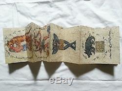 Rare Burmese Pi Ze Parabaik (Myanmar Magical Sak Yant Tattoo Book) 19th Cent