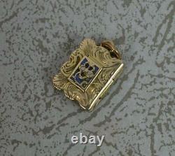 Rare Georgian Novelty 9 Carat Gold Book Shaped Pendant Locket