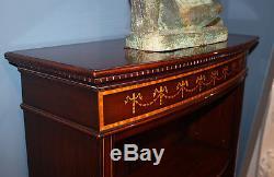 Rare Inlaid Bell Flower Mahogany Sheraton Low Bookcase Book Shelf MINT