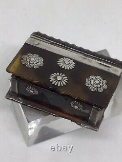 Rare Miniature Novelty c1760 Georgian Faux Tortoiseshell Silver Snuff Box Book