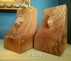Rare Mouseman Robert Thompson Hand Carved Bookends. Solid Medium Oak. Book Ends