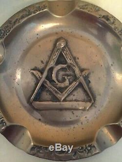 Rare Old Large Masonic Freemason Brass Ashtray & Free Book Haunted Antiques