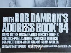 Rare Vintage Gay Poster Bob Damron's Address Book LGBT Bars Baths SIGNED 1984