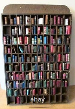Rare Vintage MINIATURE BOOKCASE + 178 MINIATURE BOOKS Attractive Mini Library