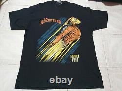 Rare Vintage Rocketeer Movie Promo Comic Book Super Hero Jetpack T shirt Size XL