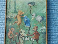 Rare Vintage signed Goblin Devil Fairy Tale Oil Painting 1930's era Story Book