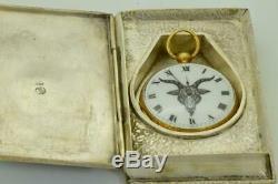Rare antique Templar/Occultist's Baphomet watch&Masonic Bible Skull book box