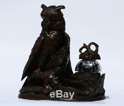 Rare black forest inkwell, owls on a carved book, Switzerland 19th