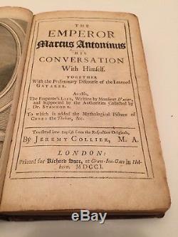 Rare find ANTIQUE BOOK Marcus Antonius Aurelius 1st Ed 1701 fantastic cond