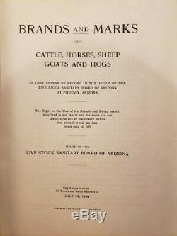 Rare old 1908 Arizona territitory Livestock cattle Brand & Marks Book Antique