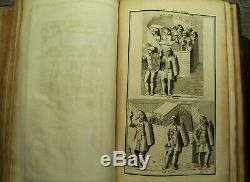 Rare old Antique Leather book 1719 Military Armies weapons Illustrated prints