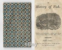 THE HISTORY OF FISH Antique American RARE CHAPBOOK Primitive Children's WOODCUTS