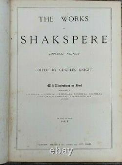 THE WORKS OF SHAKESPEARE IMPERIAL EDITION Rare Antique Complete Two Volumes 1870