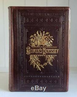 The Odyssey, Homer RARE Antique 1883 Ornate Victorian Leather Classic Adventure