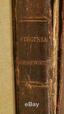 The Virginia Housewife RARE antique Leather Cookbook 1830s Mary Randolph / Texas
