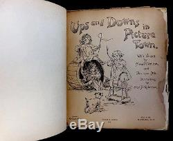 UPS & DOWNS IN PICTURE TOWN RARE Antique Nister/Dutton Movable Picture BOOK