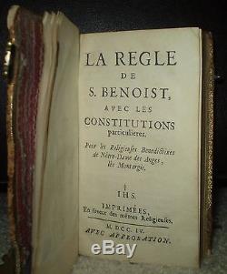 VERY RARE, 2 VOL, 1704 & 1697, ANTIQUE LEATHER With CLASPS, LA REGLE DE S. BENOIST
