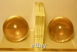 VINTAGE ITALIAN MID CENTURY MODERN LUCITE SPHERE BOOK ENDS 60's RARE