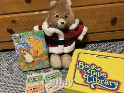 VTG 80s Teddy Ruxpin Bear 4 Cassette, 3 BOOKs, Puzzle TESTED WORKS! Rare Toy