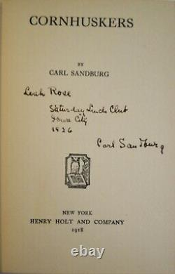 Very Rare Antique Carl SANDBURG Cornhuskers Signed 1st Edition 1918 + Card