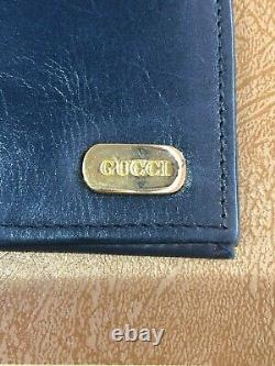 Vintage 1970's 1980's GUCCI Navy Leather Check Book Card Holder Wallet RARE box