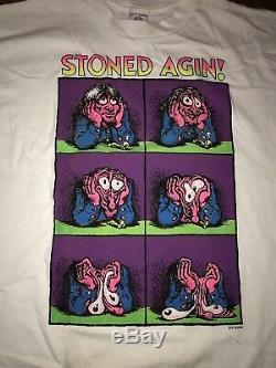 Vintage 90s R Crumb Stoned Agin Again Comic Book Flipbook Shiet Tee Tshirt RARE