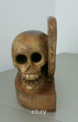 Vintage Book Ends Skull & Heart Carved Wood Folk Art New Mexico Rare